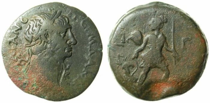 Ancient Coins - EGYPT.ALEXANDRIA.Trajan AD 98-117.AE.Drachma.AD 109/110.Artemis and Stag.