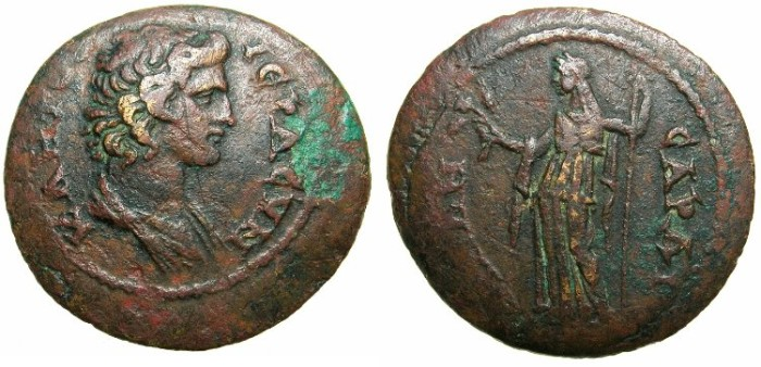 Ancient Coins - LYDIA.SARDES.Circa 80-100 AD.AE.28.4mm.~~~Young bust of Senate.~#~.Demeter standing.