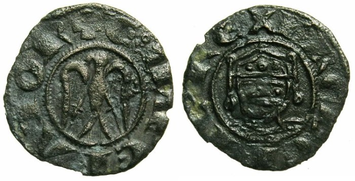 Ancient Coins - ITALY.SICILY.Henry VI AD 1194-1197 with Frederick AD 1196-1197.Billon Denaro.Mint of MESSINA or PALERMO.