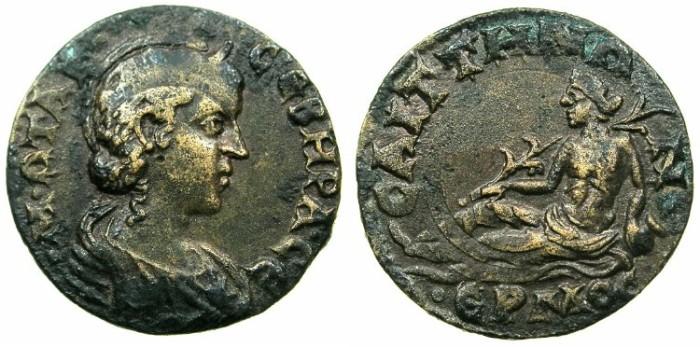 Ancient Coins - LYDIA.SAITTA.Otacilia Severa, wife of Philip I, Augusta AD 244-249.AE.20mm.~#~.River god Hermos.
