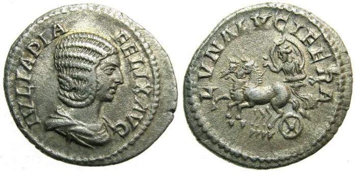Ancient Coins - ROME.Julia Domna, wife of Septimius Severus.AR.Denarius struck circa AD 211-217.~~~Luna with crescent in biga.
