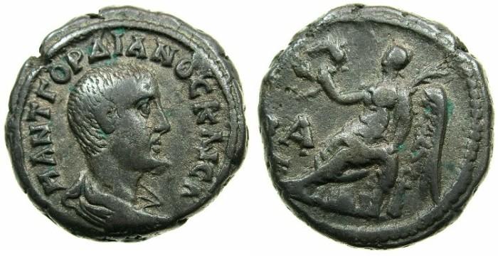 Ancient Coins - EGYPT.ALEXANDRIA.Gordian III CAESAR March to June AD 238 under Pupienus and Balbinus.Billon Tetradrachm.~#~.Nike seated left.