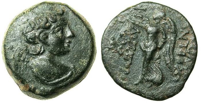 Ancient Coins - SYRIA.Uncertain Phoenician mint.Antiochus IX 114/3-96/95 BC.AE.18.Bust of Eros.Nike.