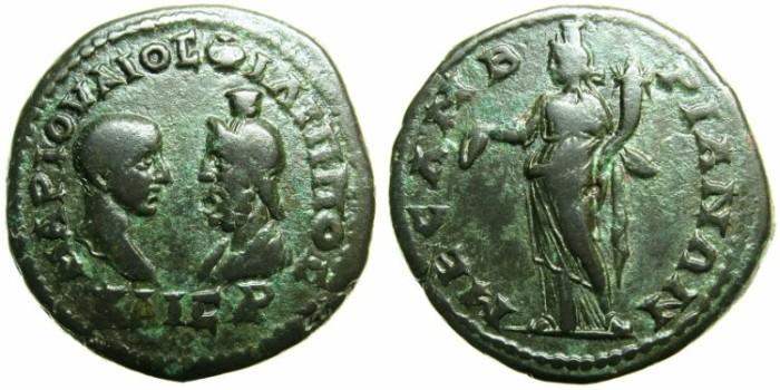 Ancient Coins - THRACE.MESEMBRIA.Philip II Caesar AD 244-247.AE.26.2mm.~#~Homonia standing.