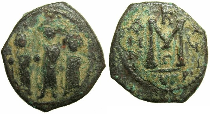 Ancient Coins - BYZANTINE EMPIRE.CYPRUS.Heraclius AD 610-641.AE.Follis; struck  AD 626-627.~~~Rare type with cross' above M and format of regnal year.
