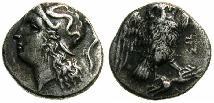 Ancient Coins - CALABRIA.TARENTUM.Circa 4th-3rd Cent BC.AR.Drachma.~~~Athena.~#~Owl on thunderbolt.
