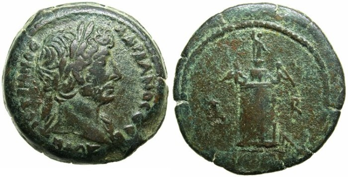 Ancient Coins - EGYPT.Hadrian AD 117-138.AE.Hemi Drachma.Mint of ALEXANDRIA.Struck AD 118/19.Pharos of ALEXANDRIA.