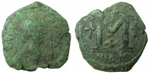 Ancient Coins - BYZANTINE EMPIRE.Justinian I AD 527-565.AE.Follis. Mint of NICOMEDIA. ~#~.Officina A, unrecorded?