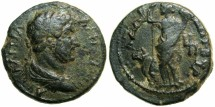 Ancient Coins - PALESTINE.GAZA.Hadrian AD 117-138.AE.24.Struck AD 131/32.~#~.Tyche and heifer