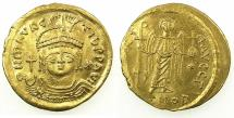 Ancient Coins - BYZANTINE EMPIRE.Maurice Tiberius AD 582-602.AV.Lightweight solidus. ( = 23 Siliquae ).Mint of CONSTANTINOPLE.