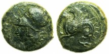 Ancient Coins - SICILY.SYRACUSE.Circa 350 BC.AE.18mm.~~~Athena.~#~.Hippocamp.