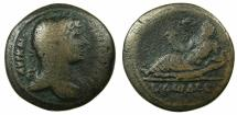 Ancient Coins - EGYPT.ALEXANDRIA.Hadrian AD 117-138.AE.Drachma, struck AD 127/28.~#~.Nilus reclining on crocodile