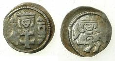 World Coins - HUNGARY.Bela IV AD 1235-1270.AR.Dinar. Reverse. Griffin with crowned human head.