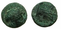 Ancient Coins - CARIA.CNIDUS.Circa 300-190 BC.AE.Chalkous. Apollo. Prow.Magistrate GITOS?