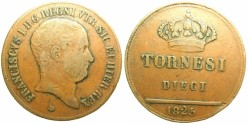 World Coins - ITALY.TWO - SICILIES.Francesco I 1825-1830.AE.10 Tornesi 1825.