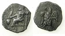Ancient Coins - CILICIA.Uncertain.Circa 4th cent BC.AR.Hemi obol. Baal enthroned.Reverse. Eagle.
