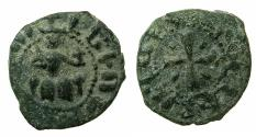 World Coins - ARMENIA, Cilician kingdom. Levon III 1301-1307.AE.Kardez.Mint of SIS. Obverse. King enthroned.