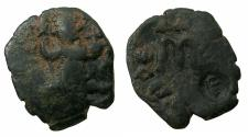 Ancient Coins - BYZANTINE EMPIRE.Constans II AD 641-668.AE.Follis, struck AD 642/43. Mint of CONSTANTINOPLE. Reverse. Arabiic countermark 'lillah'.