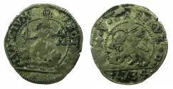 World Coins - ITALY.VENICE.Carlo Ruzzini AD 1732-1735.AR.Trairo da cinque soldi.1734.