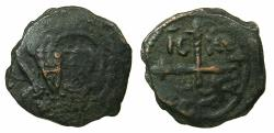 World Coins - CRUSADER STATES.Principality of Antioch.Tancred AD 1104-1112.AE.Follis.2nd type. Facing bust of Tancred. clear overstrike on his 1st type.