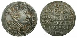 World Coins - POLAND.Sigismund III Vasa King of Poland and Grand Duke of Lithuania AD 1587-1636.AR.Trojak ( 3 Grosze ).1598. Mint of RIGA.