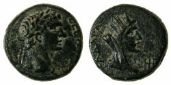 Ancient Coins - SYRIA.The Decapolis.GADARA.Claudius AD 41-54.AE.18mm. Reverse. Bust of Tyche. ***7 examples recorded in RPC I.***