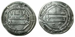 World Coins - ABBASID CALIPHS. al-Mansur 136-158H ( AD 754-775 ).AR.Dirhem.dated 157H. Mint: Medinat al Salam ( City of Peace ).