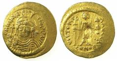 Ancient Coins - BYZANTINE EMPIRE.Maurice Tiberius AD 582-602.AV.Lightweight solidus 4.26g. ( = 23 Siliquae ).Mint of CONSTANTINOPLE.