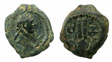 Ancient Coins - EGYPT.ALEXANDRIA.Trajan AD 98-117. AE.Dichalkon, AD 113/114. Anepigraphic issue.Reverse. Headdress of Isis.