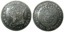 World Coins - ITALY.SARDINIA.Carlo Emanuele III 1730-1773.AR.Quarto de Scudo.1765.Mint of TURIN.