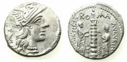 Ancient Coins - ROME.REBUBLIC. Ti Minucius cf Augurinus 134 BC.AR.Denarius.