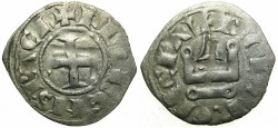World Coins - CRUSADER STATES.GREECE, Principality of ACHAIA.Florent of Hainault AD 1289-1297.Bi.Denier.Type 3.