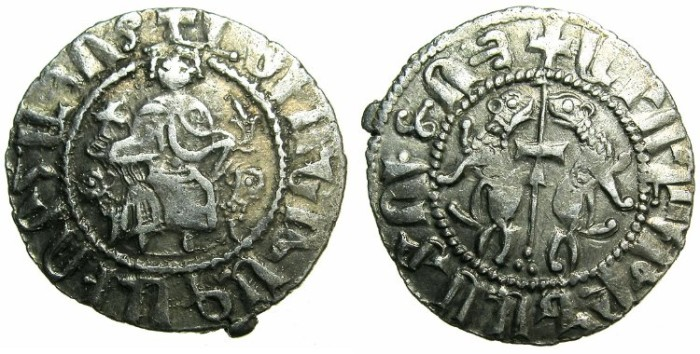 Ancient Coins - CILICIAN ARMENIA.Levon I AD 1199-1219.AR.Tram.~~~Cross on tunic.~#~First letter of legend omitted.