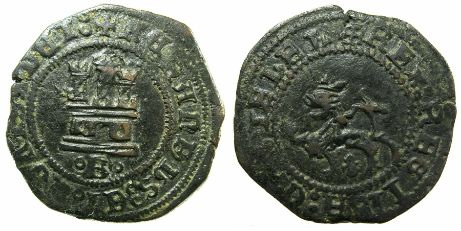 World Coins - SPAIN.Ferdiand and Isabella AD 1469-1504.AE.2 Maravedis, No date.Mint of BURGOS.