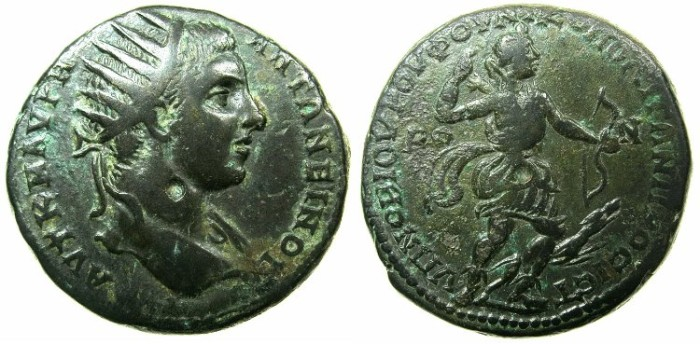 Ancient Coins - MOESIA INFERIOR.NIKOPOLIS AD ISTRUM.Elagabalus AD 218-222.AE.26mm.~#~.Artemis with hound.