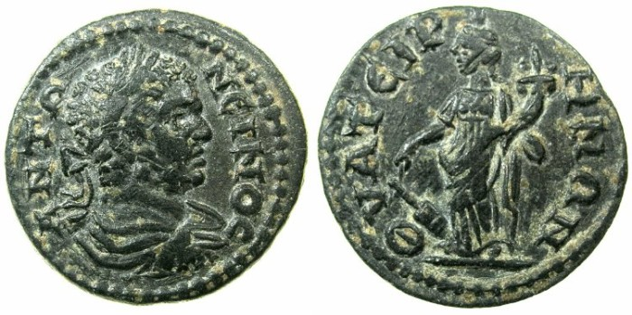 Ancient Coins - LYDIA.THYATIRA.Caracalla Augustus AD 198-217.AE.19.6mm.~#~.Tyche.