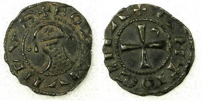 Ancient Coins - CRUSADER STATES.Principality of ANTIOCH.Bohemond IV 2nd period 1219-1233 or Bohemond V 1233-1251.Bi.Denier.class O.