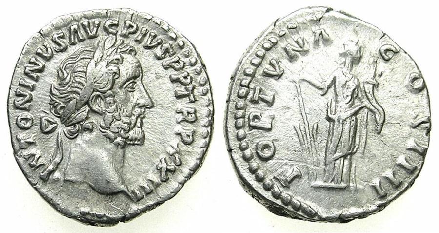 Ancient Coins - ROMAN.IMPERIAL.Antoninus Pius AD 138-192.AR.Denarius, struck AD 159/60.Mint of ROME.~#~.Fortuna.