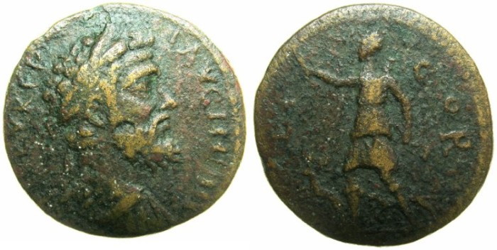 Ancient Coins - CORINTHIA.CORINTH.Septimius Severus AD 193-211.AE.24.2mm.~#~.Artemis  with Stag and dog.