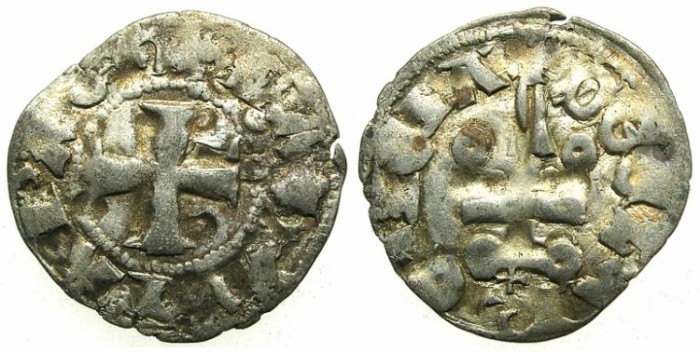 Ancient Coins - CRUSADER.ACHAIA.Mahault of Hainault AD 1316-1321.Bi.Denier.Type 3B.