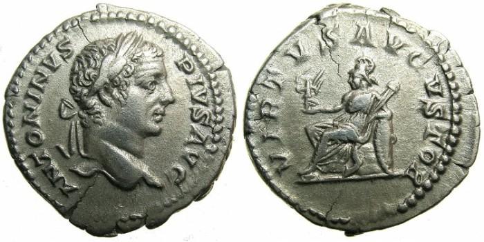 Ancient Coins - ROMAN.Caracalla Augustus AD 198-209.AR.Denarius.Group II. undated issue c.206-210.~~~VIRTUS seated.