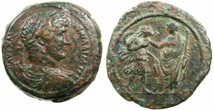 Ancient Coins - EGYPT.ALEXANDRIA.Hadrian AD 117-138.AE.Drachma, struck AD 130/131.~#~.Alexandria greeting Hadrian with a kiss