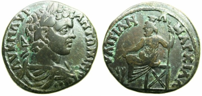 Ancient Coins - THRACE.ANCHIALUS.Caracalla Augustus AD 198-217.AE.27.4mm.~#~. Hades - Serapis enthroned.