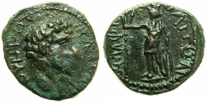 Ancient Coins - MACEDON.AMPHIPOLIS.Lucius Verus, Caesar AD 161-169.AE.19.7mm.~#~Demeter standing.