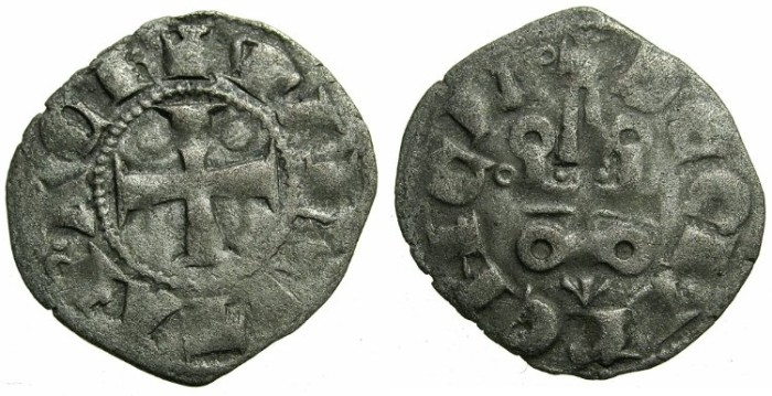 Ancient Coins - CRUSADER STATES.GREECE.Principality of ACHAIA.Mahault of Hainault AD 1316-1321.Bi.Denier.Type MA1c.