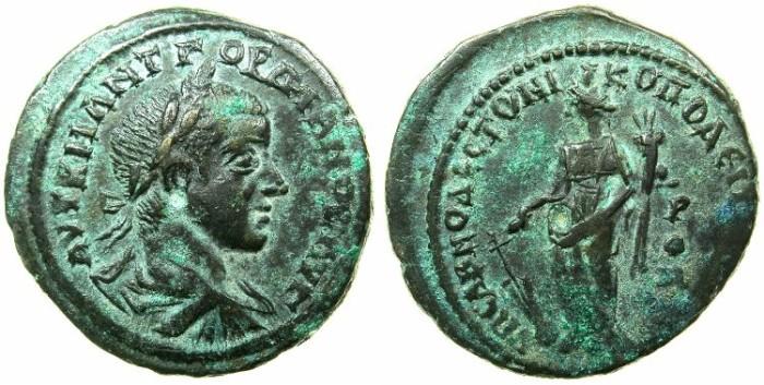 Ancient Coins - MOESIA INFERIOR.NIKOPOLIS AD ISTRUM.Gordian III AD 238-244.AE.28mm.~#~.Tyche standing.