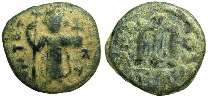 Ancient Coins - PSEUDO-BYZANTINE.7th Cent AD.AE.Follis.Copying Constans II AD 642-668.Standing Imperia image