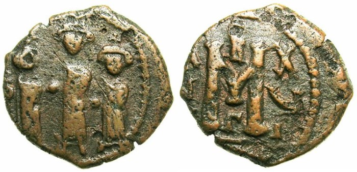 Ancient Coins - BYZANTINE EMPIRE.CYPRUS.Heraclius AD 610-641.AE.Follis AD 626/627.