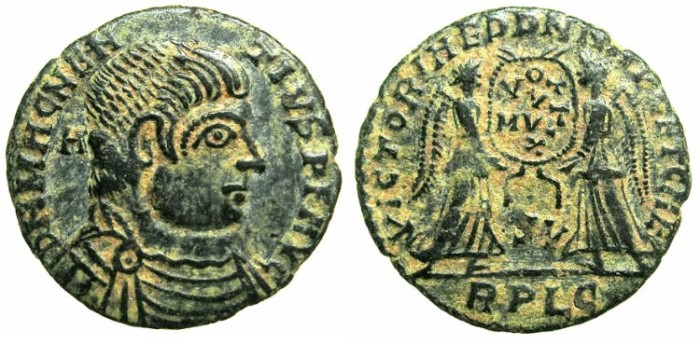 Ancient Coins - ROMAN.Magnentius AD 350-350.AE.Centenionalis.Contemporary copy mint of LYONS.Two Victories.
