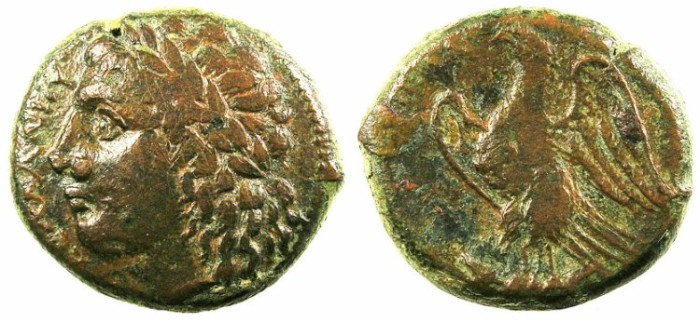 Ancient Coins - SICILY.SYRACUSE.4th Republic.3rd c.BC.AE.22mm.Zeus.Eagle